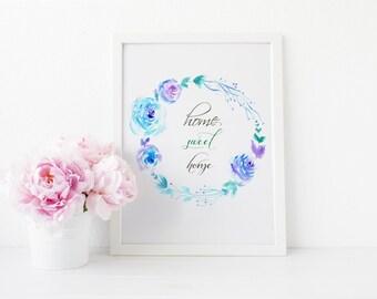 Floral Wall Art, Blue Flowers, Wall Art, Digital Download