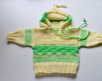 Hooded Cardigan for babies, unisex yellow-green