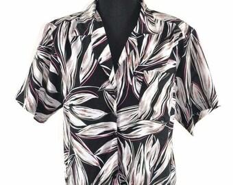 Vintage Balenciaga 1980s Black Floral Button Down Short Sleeve Blouse Top Size 10