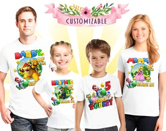 Super Mario Custom shirt for family members, girls birthday gift, shirt boy mario, birthday girl gift, family matching shirts, family party
