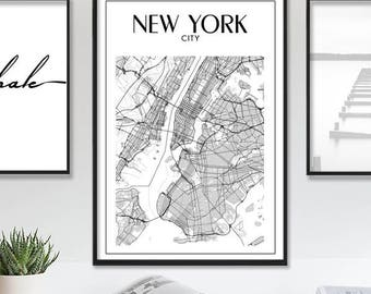 New York Map Print Map of New York NYC Map Wall Decor City Art New York Poster Printable Black and White Map Instant Download Printable Art