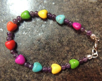 Multi colored heart bracelet