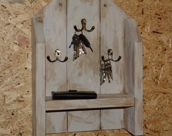 Rustic Handmade Key Hanger, Shelf, Hooks