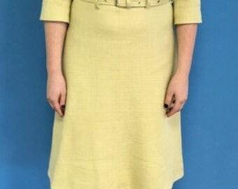 A-line midi yellow dress