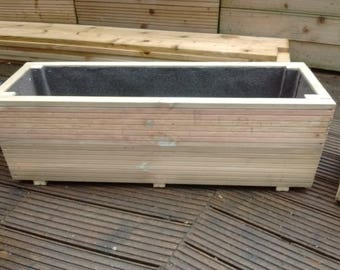80 x 24 x 24cm Treated Wooden Trough Planter
