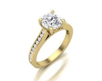 Round Cut Moissanite Diamond Yellow Gold Engagement Ring - Forever One Moissanite Ring - 1.25 Carat Charles & Colvard Round Moissanite Ring