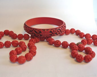 "Vintage Chinese Red CINNABAR Carved Beads Hand Knotted 25"" Necklace & Bracelet"