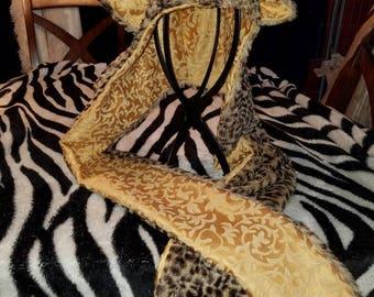 Leopard minky faux fur hood