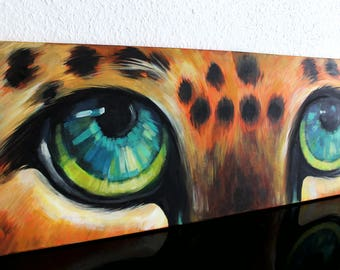Acrylic Portrait Painting on Canvas - Leopard Eyes, Eye Painting, Dramatic Contemporary Painting of Animal Eyes