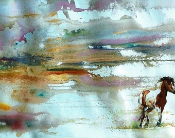 Running Horse Original Watercolor Painting 12.5 inches X 22 inches Brown Orange
