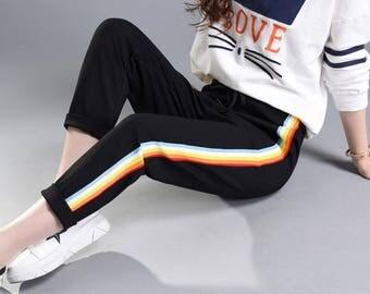 Rainbow Striped Jogger Pants