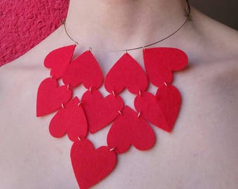 free shipping red heart necklace alternative different felt material wire stars light handmade daughter mother choker flexible birthday gift
