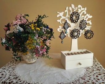 Handmade earrings-Swarovski and cotton