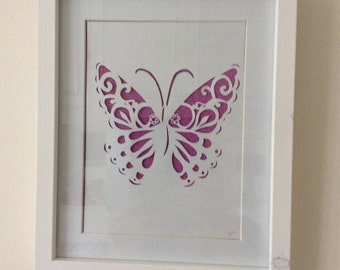 Butterfly papercut in frame. Perfect for a new home//wedding gift//special birthday present//butterfly art//insect art