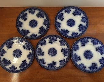 Flow Blue New Wharf Waldorf bread and butter plates