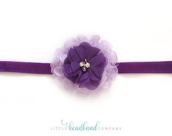 Purple Flower Baby Headband • Flower headband • adult headband • hair accessories for girls • flower girl • baby accessories • baby gifts