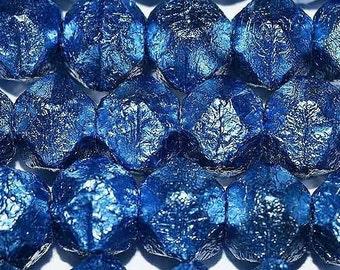 Stunning metalic Cerulean blue English cut Czech glass beads 10mm,  Uk beads, purple beads, metalic beads