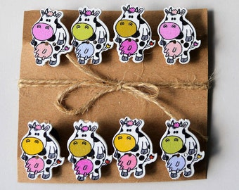 Cute cow decorative wooden button mini pegs, magnets / string