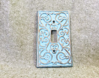 Vintage Green Patina Switchplate/ Shabby Chic/ Scrolls and Parisian Vintage Charm Decor