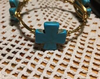 Cross turquoise Bangle stack bracelet