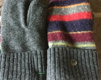 Wool Sweater Mittens Gray with Multi Color Stripes