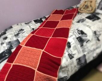 Vintage Crochet Blanket | Maroon and Pink | Squares