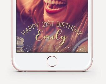Gold Birthday Snapchat Filter, Glitter Birthday Geofilter, Birthday Snapchat Filter, Custom Birthday Geofilter, Birthday Party Geofilter.