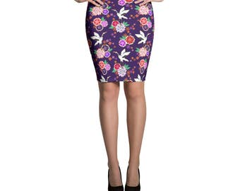 Skirt Kimono Japanese Pattern Print Pencil or Mini Skirt Womans Skirts Printed Fashion Bottoms Crazy Unique Outfit Stretch Printed Fabric