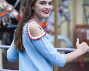 Blue Bridesmaid dress knit summer dress sleeveless dress midi casual dress blue white dress fashion knitwear cotton dress pastel color prom