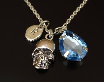 Skull Necklace, Skull Charm, Skull Pendant, Skull Jewelry, Human Skull, Gothic Necklace, Gothic Jewelry, Vampire Necklace, Voodoo Necklace
