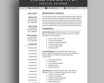 Resume Template, Professional Resume Template, Creative Resume Template For Word, Resume Template Instant Download, Cover Letter and more