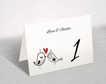 Wedding table numbers. Cute and original. Coordinated with invitations, menus, place cards and mass booklets.