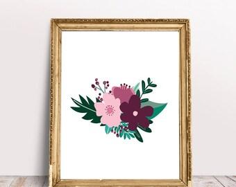 Pink Floral Art Print - Instant Download