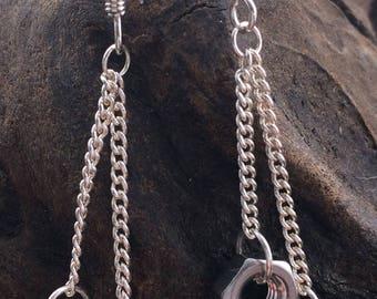 Small Double Drop Hex Nut 925 Earrings