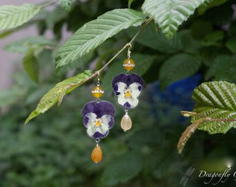 Earrings yellow agate quartz crystal real violets, yellow/Silver 925/real flowers/pressed flowers/pressed flowers/birthday gift