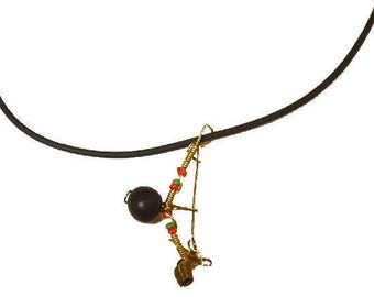 Handmade Berimbau Necklace with Rubber Chain