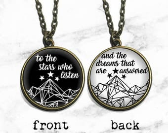 Double Sided Night Court Necklace, A Court of Thorns and Roses, Mist and Fury, ACOMAF ACOTAR Jewelry Necklace, To the stars who listen