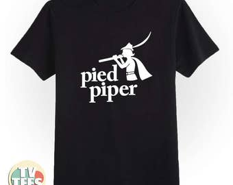Pied Piper Silicon Valley Tee Shirt in Black and White