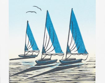 Low Tide Limited Edition Lino Print