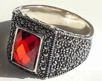 925 Sterling Silver Men's Ring with Absolutely Handmade Real Ruby