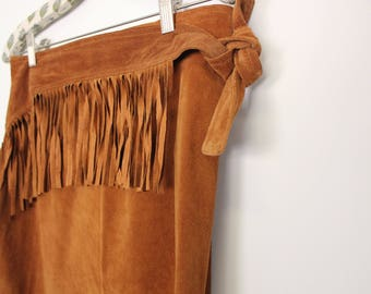 Vintage Brown Leather Fringe Skirt // S/M