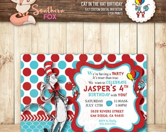 Cat In The Hat Birthday Invitation - Custom Digital Birthday Invitation 5x7 - Cat In the Hat, Dr Seuss, Cat In the Hat Invitation