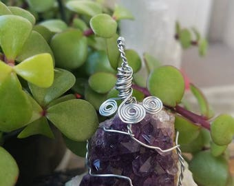 Amethyst Crystal Cluster Wire Wrapped Pendant