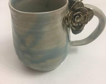 Ceramic Rose Mug, Baby Blue 1