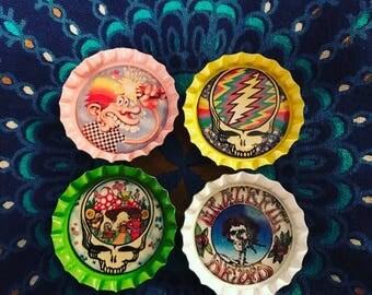 Grateful Dead Bottle Cap Magnets Set of 4