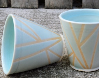 Set of two geometric stoneware tumblers or coffee cups - no handles