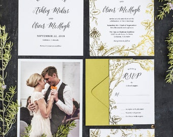 Gold Foil Flower Printable Wedding Invitation Set