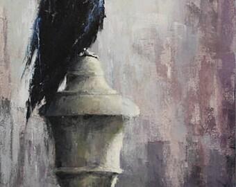 Raven Painting- Bird Art- Bird Painting- Raven Art- Statue- Crow Painting- Raven- Wildlife- Nature