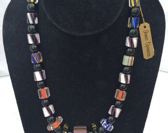 Black and Mutlicolor Glass Bead Necklace