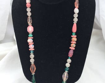Pink and Green Glass Bead Necklace
